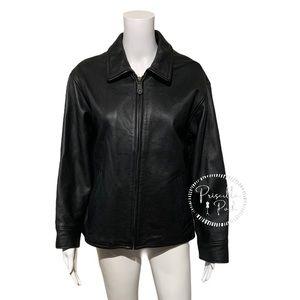 Eddie Bauer Black Leather Heavy Motorcycle Jacket